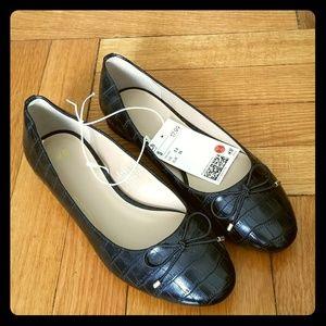 Faux Croc Ballet Flats